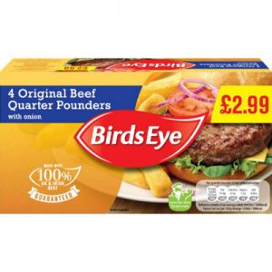 PM £2.99 4 Birds Eye 1/4 Pounder