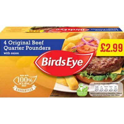 PM £2.99 4 Birds Eye 1/4 Pounder