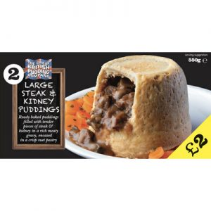 PM £2.00 2 Large Steak & Kidney Puddings