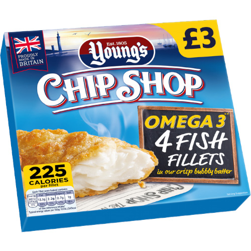 PM £3.00 Young's Chip Shop 4 Fish Fillets Omega 3